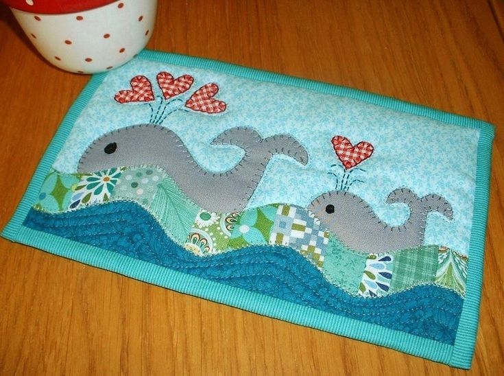 Whales Mug Rug project on Craftsy.com