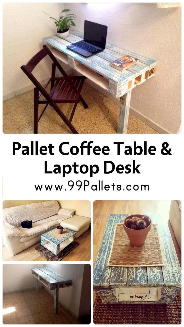 Diy pallet sofa with table 99 pallets - Pallet Coffee Table And Laptop Desk