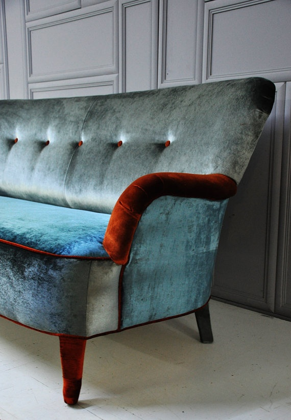 velvet gray & blue sofa by namedesignstudio on Etsy, $2200.00