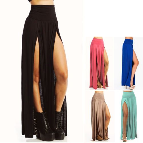 DOUBLE SLIT SEXY HIGH LOW FOLD OVER WAIST STRETCH JERSEY LONG MAXI SKIRT S-L