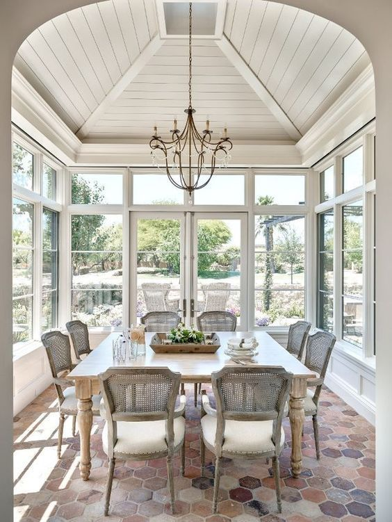 White Planked Ceiling Sunroom Design Ideas Porch