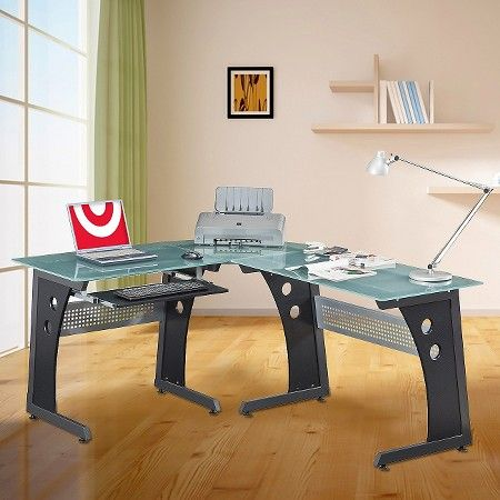 Large L-Shape Desk with Frosted Glass - Techni Mobili : Target