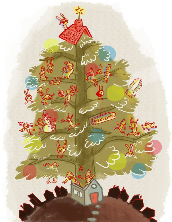 """Illustration of the short story """"Navidad en aprietos"""" about a family that hosted christmas with the biggest tree... by Yolanda Ramírez Michelbañuelos, Illustration by Casus Olivas visit www.behance.net/casusolivas"""