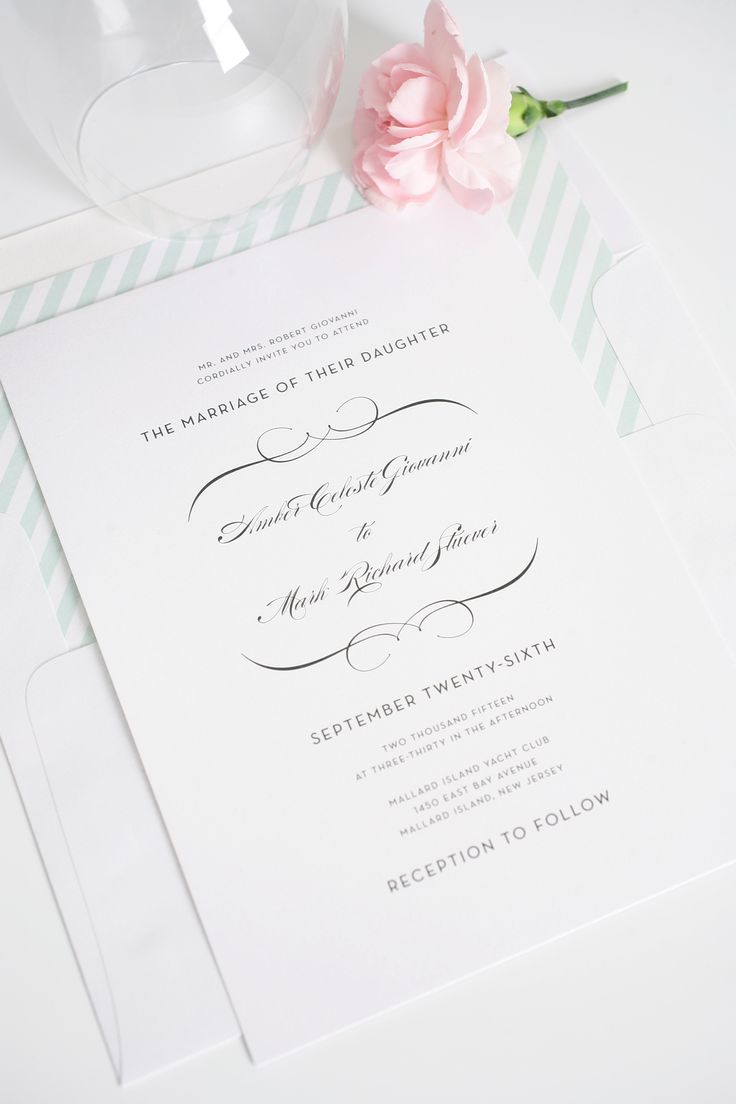 vintage wedding invitation text%0A Romantic Wedding Invitations in Mint