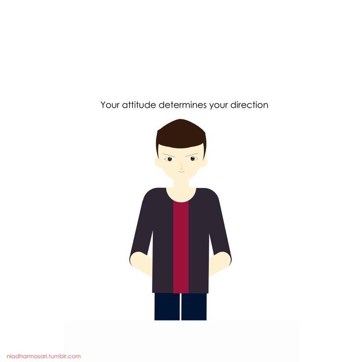 "Cute Doodles Illustration — ""Your attitude determines your direction,"""