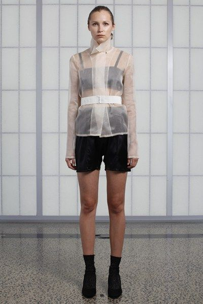 s/s 13/14 womens key looks - W07. sharp shirt in shell, breastplate in polish, bloomer in polish.