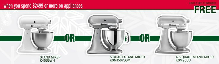 Free stand mixer when you spend $2499 or more on appliances at Lastman's Bad Boy this Boxing Day!
