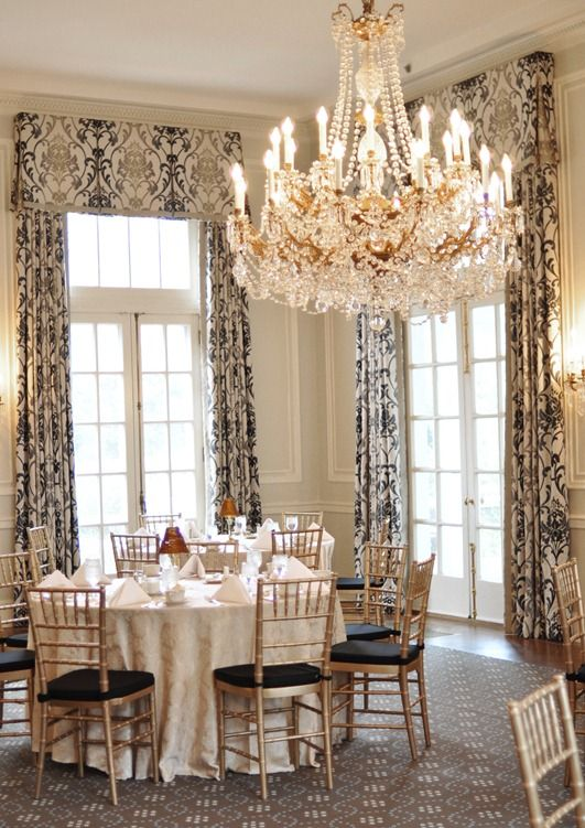 Plain Valance With Trim And Reverse Corner Gussets At Dining Room Duke  Mansion