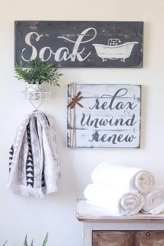 RUSTIC BATHROOM DECOR, farmhouse bathroom decor, bath wall decor, bathroom wall decor, rustic bathroom, relax sign, bath decor, soak sign – wood art