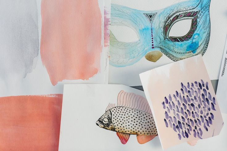"""Various sketches, fish made for the """"Deep Sea"""" series."""