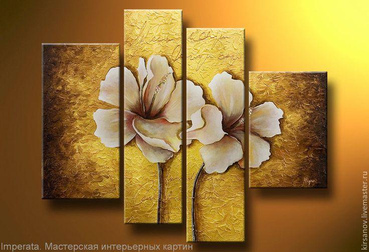 """Купить Картина маслом """"Золотые цветы"""" - жёлтый, оформление стен, Живопись, современное искусство, панно"""