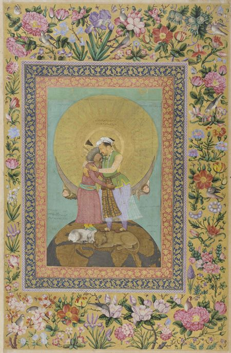 allegorical representation of emperor jahangir & shah abbas of persia 1618