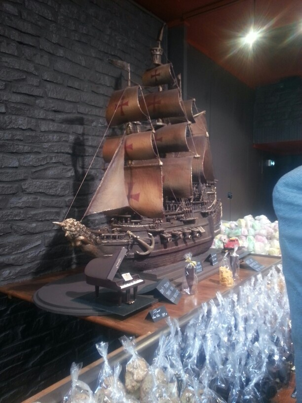 Chocolate sculptures. ..holy ship, that's chocolate! .