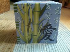 Scenic Vintage Asian Inspired Hand Painted Ceramic Square Tissue Box Holder.