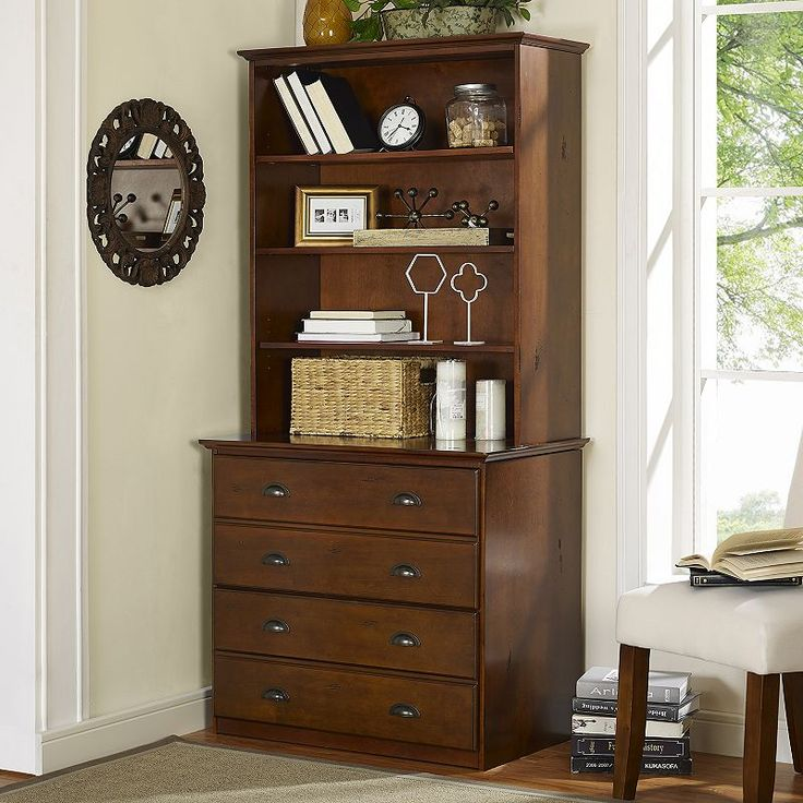 Valley Forge File Cabinet & Hutch Set, Brown