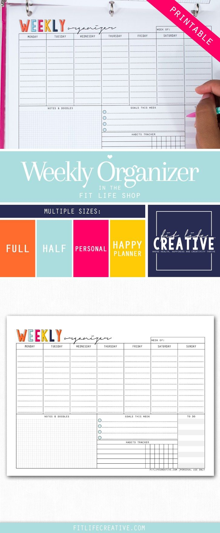 Printable Weekly Organizer to help you organize your full week , goals and ideas.