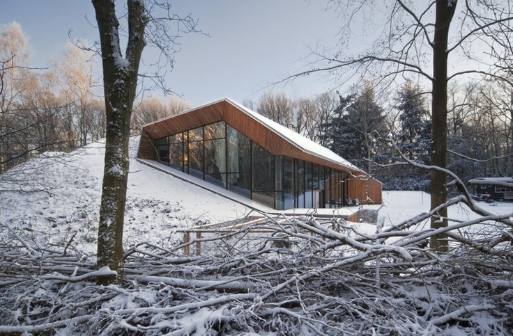 montagna, parete vetrata, neve, spiovente, tetto