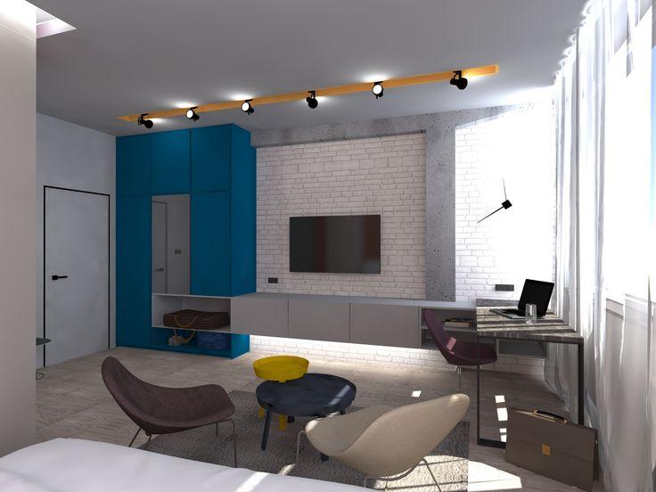 Projekt wnętrz hotelu dla firmy Swiss Krono w Żarach