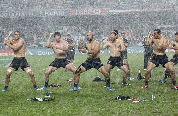 The New Zealand rugby team celebrated their recent win in the Sevens tournament in Hong Kong in their own unique way.