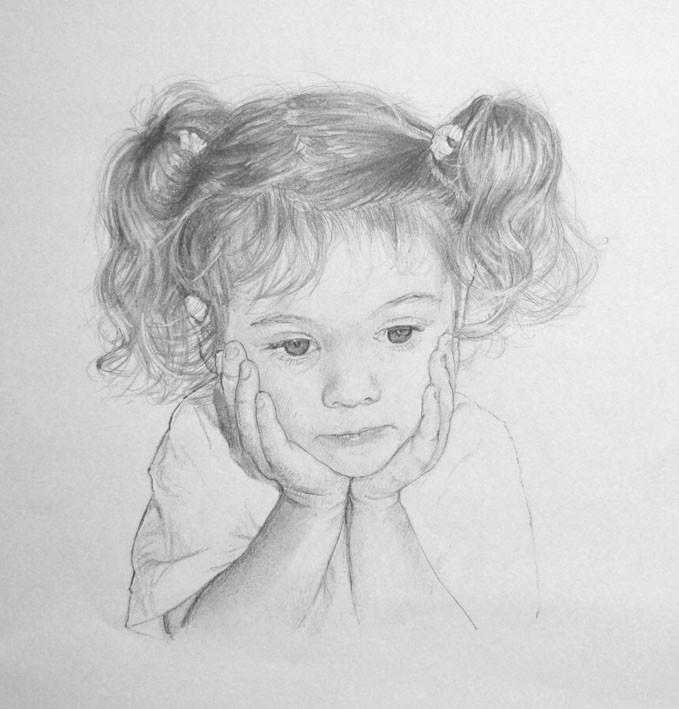 Beautiful pencil drawing portrait of Zoe by artist Anna Bregman