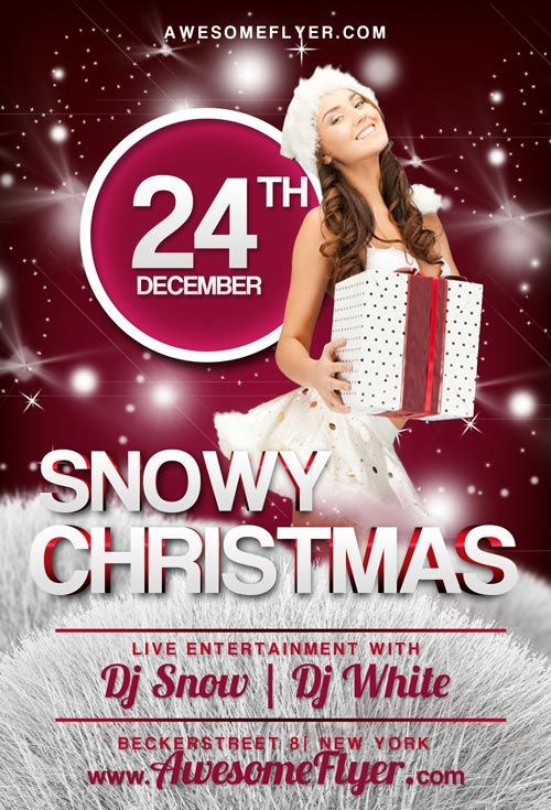 Snowy Christmas Free PSD Flyer Template - http://freepsdflyer.com/snowy-christmas-free-psd-flyer-template/ Snowy Christmas Free PSD Flyer Template – This free psd flyer template was designed to promote your next party, club and special music event. This print ready free flyer template includes a 300 dpi RBG and print ready CMYK file. All main elements are editable and customizable.   #Bar, #Beats, #Club, #Deluxe, #Electro, #Night, #Nightclub, #Party, #Xmas