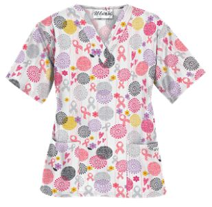 UA Support Blooms White Scrub Top   Offering a roomy fit, you'll be able to move without restriction in this comfortable v-neck scrub top. Style # PC62SUP #uniformadvantage #uascrubs #adayinscrubs #pink #scrubs #breastcancerawareness #nurse #nursingscrubs #oncology