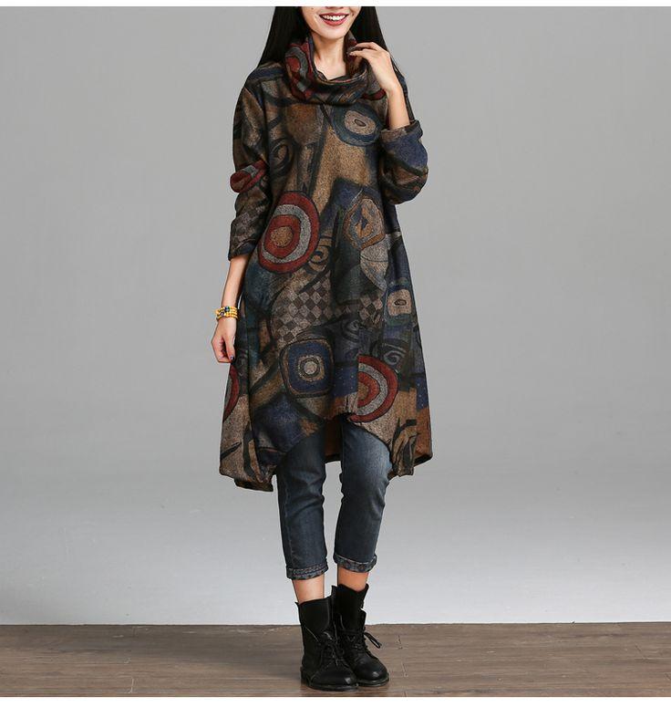 Новый 2016 Осенне Зимней Моды Национальный Стиль Vintage Печати С Длинным Рукавом Свободные Удобные Женщины Повседневные Платья Плюс Размер H393 купить на AliExpress