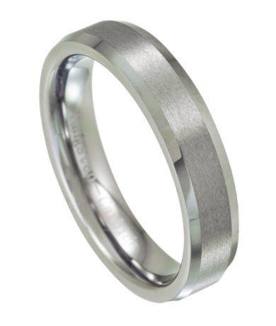 Tungsten Men's Wedding Ring, Satin Finish and Beveled Edge, 5.5mm
