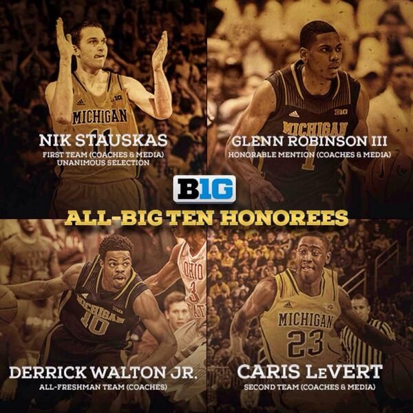 Michigan Basketball brought home the hardwood at the Big Ten End-of-Season Awards: Nik Stauskas (First Team), Caris LeVert (Second Team), GRIII (Honorable Mention), & Derrick Walton Jr. (All Freshman Team)