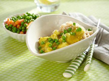 Kylling i karry med ris En rigtig god og børnevenlig klassiker fra Familie Journals Slankeklub  Opskrifter til en sund kostplan fra Familie Journals Slankeklub