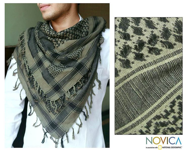 UNICEF Market | Men's Gray and Olive Plaid Cotton Scarf from India - Newspaper Plaid