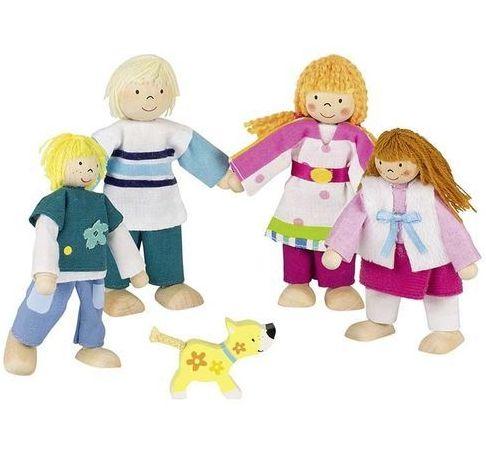 Dřevěné panenky rodina s pejskem
