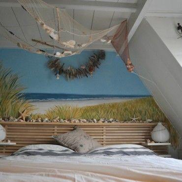 Muurschildering strand, zee en duinen