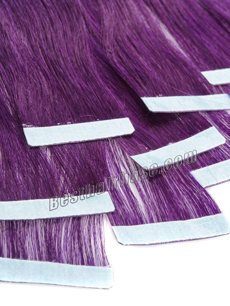 Purple Straight Seamless Skin Weft Hair Extension 10pcs/set 18-24 inch Remy Brazilian Hair Double Sided Take Hair Extensions