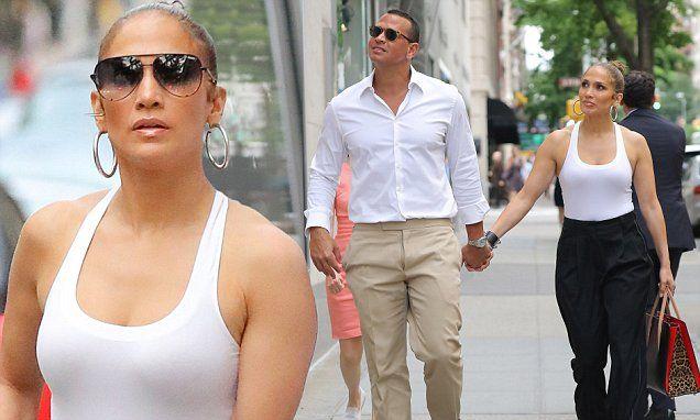 Jennifer Lopez reveals curves as she holds hands with Alex Rodriquez