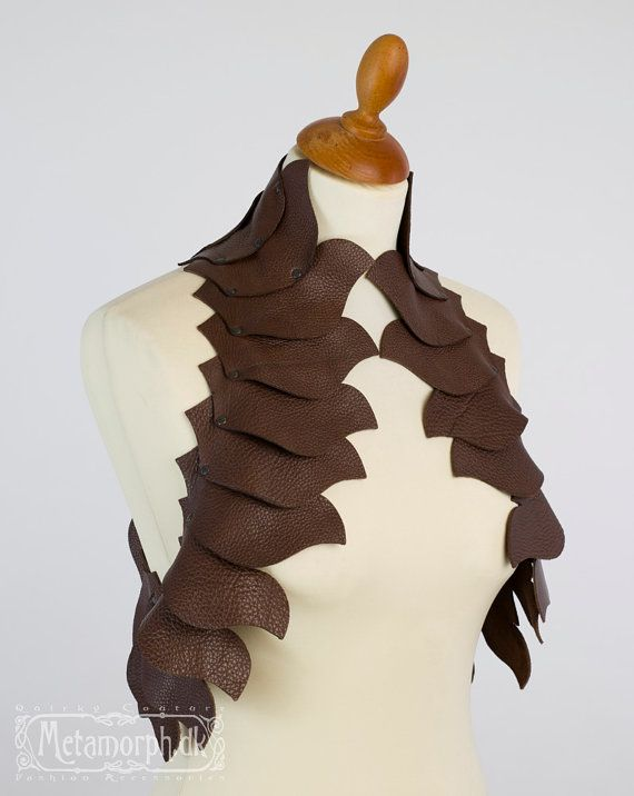 Dragon's spine brown leather vest Sculptural by MetamorphDK