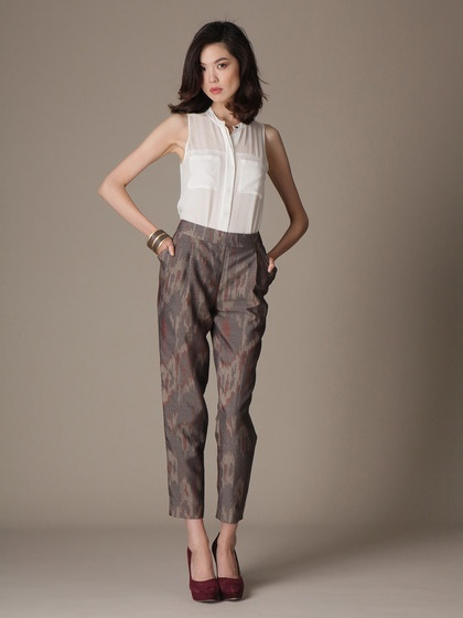 Wool Blend Slim Leg Ikat Pant by Lafayette 148 New York on Gilt