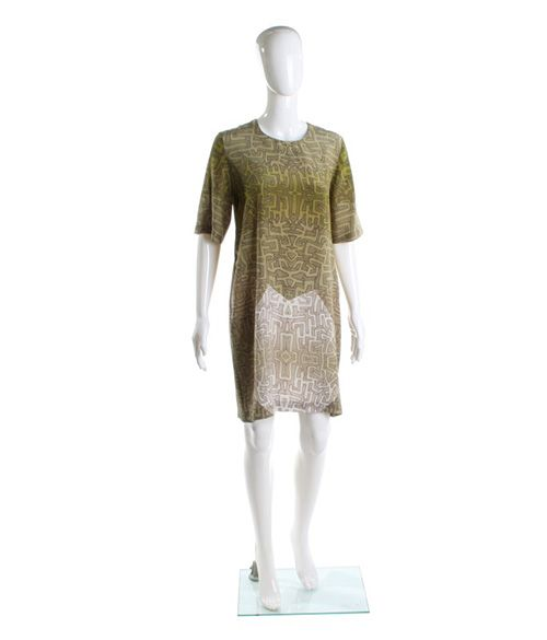 """Roupa Pemmaraju Jade Multi dress. 100% silk knee length short sleeve shift dress with art work designed by indigenous Australian artist """"Jimmy Pike"""" Winter 2013 collaboration with designer """"Roupa Pemmaraju """"-Wearing picture suggestion with """"Jimmy Scarf""""   Price $315"""