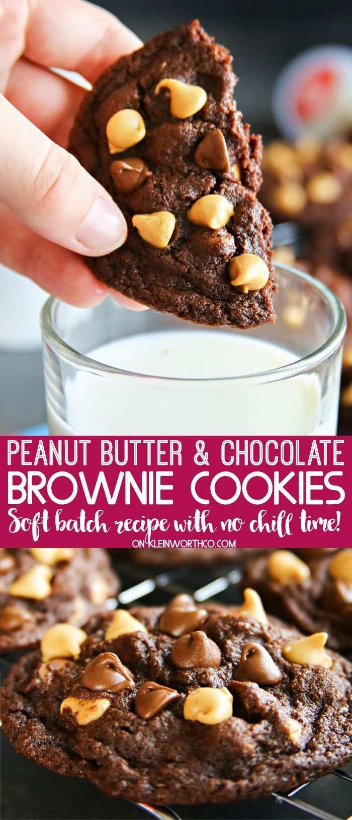 Soft batch style Peanut Butter Chocolate Brownie Cookies are the most delicious no-chill chocolate cookies around. Perfect for an after school treat. #ad #SeattlesBestDay