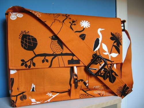Messenger bag made with Ikea fabric.