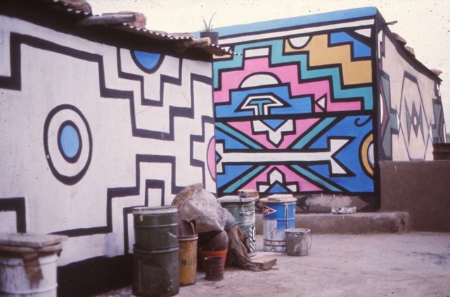 Old slide of Ndebele painting fro the 1970's
