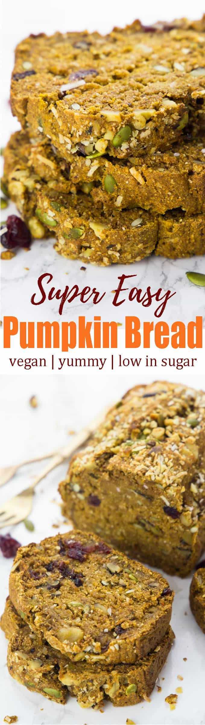 This vegan pumpkin bread with cranberries and pumpkin seeds is perfect to celebrate the beginning of fall! It's super easy to make, low in sugar, and sooo delicious! Vegan baking and vegan desserts in general can be so simple! <3