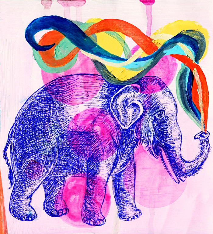 Elephant by Belicta Castelbarco. Purchase this print at www.thelittlestmammoth.com  I think this style could be replicated with ballpoint pen, mebbe?