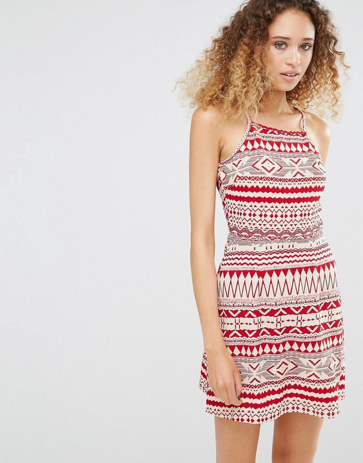 Buy it now. Daisy Street Dress In Festival Print - Red. Casual dress by Daisy Street, Woven fabric, Square halter neckline, Keyhole back, All-over print, Slim fit - cut close to the body, Machine wash, 100% Polyester, Our model wears a UK S/EU S/US XS and is 176cm/5'9.5 tall. ABOUT DAISY STREET If you like your trends as fast as they come then Daisy Street is the label for you. Always up on their A-game, Daisy Street's collection of crop tops, bodycon midis and pleated mini skirts bring an…