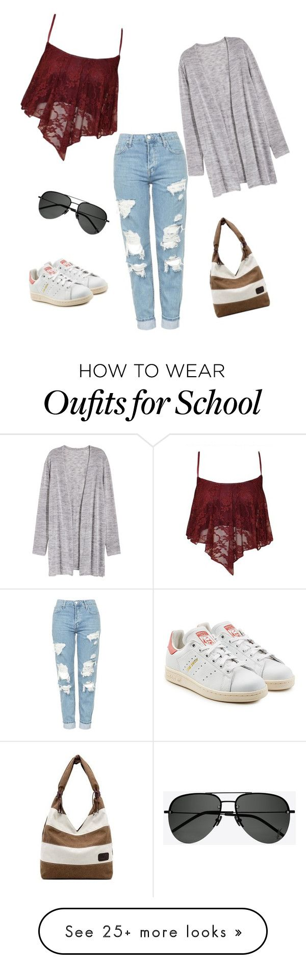 """""""School day!"""" by maggieqin on Polyvore featuring Topshop, adidas Originals and Yves Saint Laurent"""