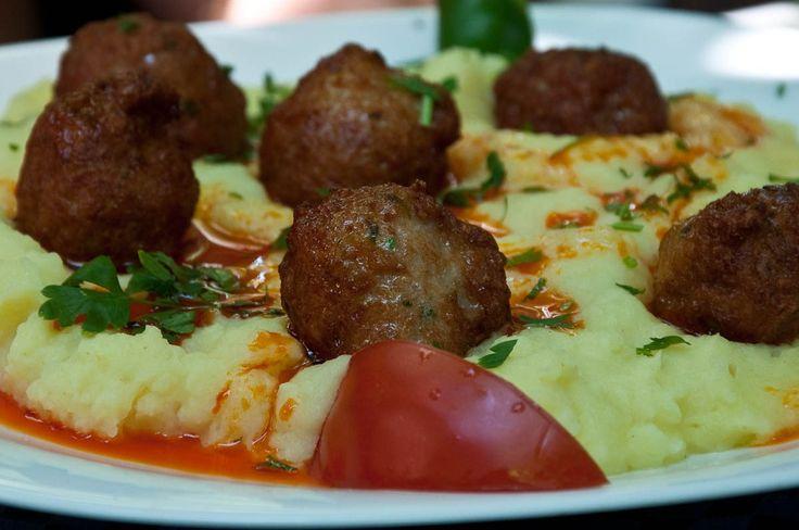 Meatballs with potato mash, A small restaurant in Sofia, Bulgaria - www.rossiwrites.com