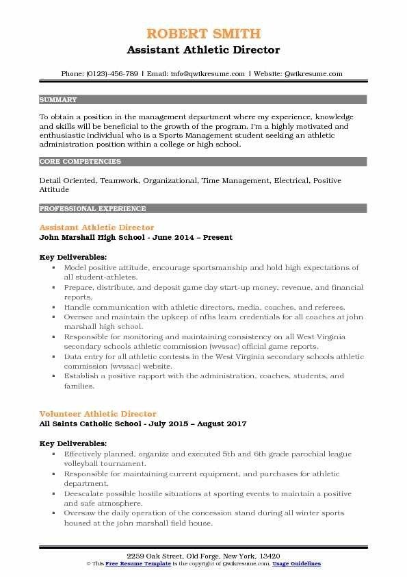 Assistant Athletic Director Resume Samples Qwikresume Resume Administrative Assistant Resume Resume For Graduate School