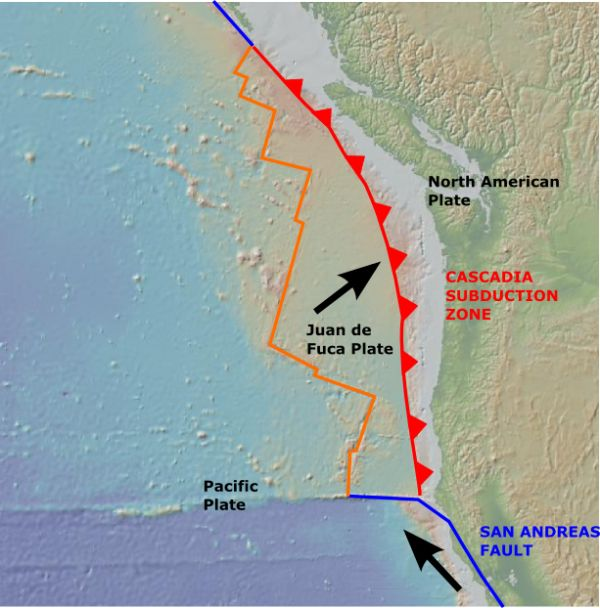 cascadia subduction zone map - Google Search