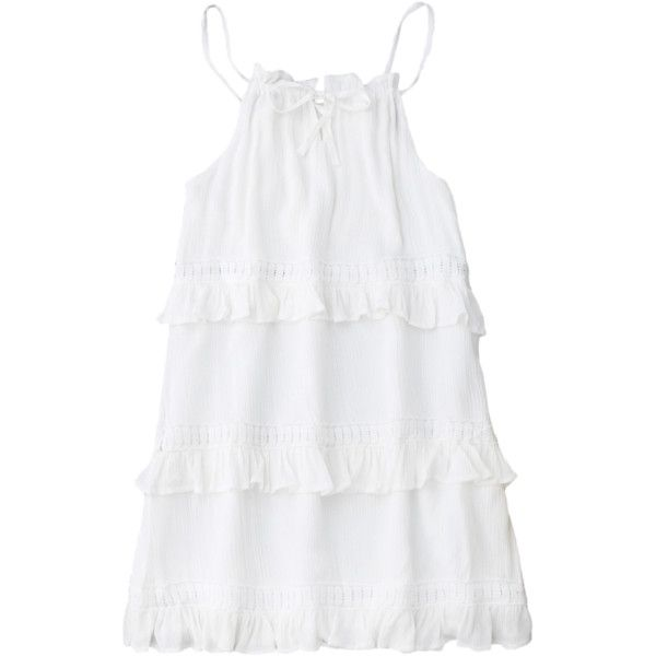 Slip Ruffle Summer Dress White (€17) ❤ liked on Polyvore featuring dresses, zaful, white day dress, frilly dresses, white dresses, white summer dress and summer dresses