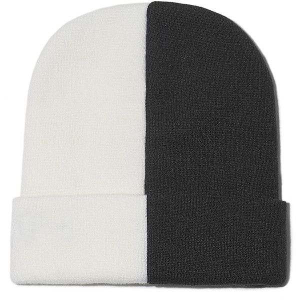 Color Block Beanie (522.310 IDR) ❤ liked on Polyvore featuring accessories, hats, beanies, ribbed beanie, beanie hat, black and white hat, block hats and beanie cap
